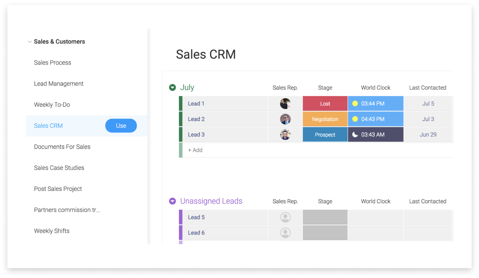 monday com as a CRM – Support